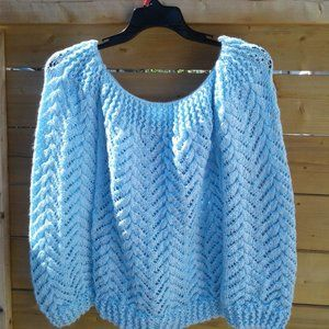 New Handmade Puff Bishop Sleeves Cable Sweater